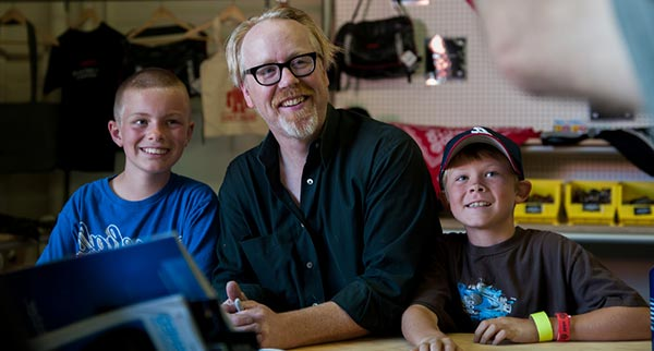Image of Adam Savage with his kids Riley and Addison Savage